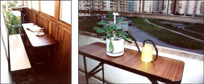 Складной стол и стулья для лоджии..